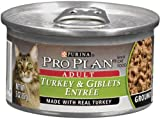 Pro Plan Canned Cat Food, Adult Ground Turkey and Giblets Entrée, 3-Ounce Cans (Pack of 24), My Pet Supplies