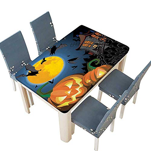 PINAFORE Spillproof Fabric Tablecloth Scene with Halloween Haunted Party Theme Trick or Treat for Kitchen Decoration Washable W53 x L92.5 INCH (Elastic -