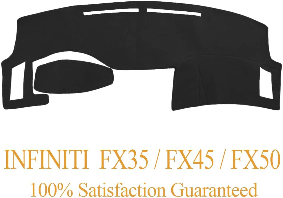 Black Dashboard Cover Dash Cover Mat Pad Carpet Custom Fit for Infiniti FX35 FX45 FX50 2003 2004 2005 2006 2007 2008 Y40