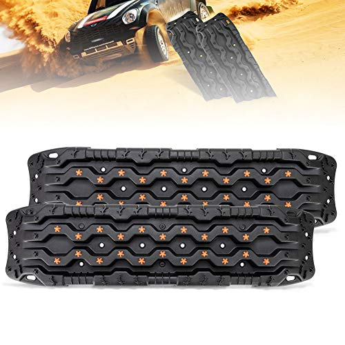 FieryRed Traction Tracks - 2 Pcs Traction Mat Recovery for Sand Mud Snow Track Tire Ladder 4X4 - Traction Boards Size: 45.3 inch (L) x 13 inch (W) X 2.6 inch (H), Black