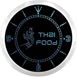 nc0607-b Thai Food Thailand Restaurant Cafe Neon Sign LED Wall Clock