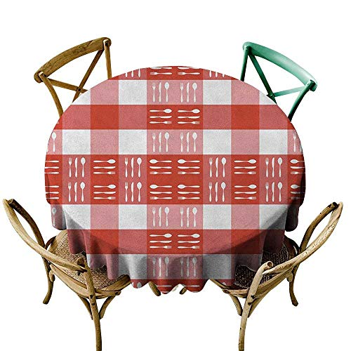 - Wendell Joshua Yellow Tablecloth 54 inch Checkered,Cutlery Silhouettes on Squares Dining Picnic Tile Spoons Forks Knives, Coral Dark Coral White 100% Polyester Spillproof Tablecloths