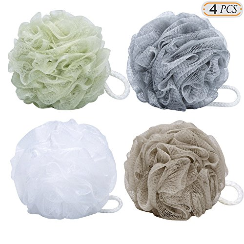 Hisight Bath Shower Sponge Pouf Loofahs Mesh Brush Shower Ball, Mesh Bath and Shower Sponge Pack of 4 (60g/pcs)Personal Care Bathing Accessories & Body Sponges (4PCS)