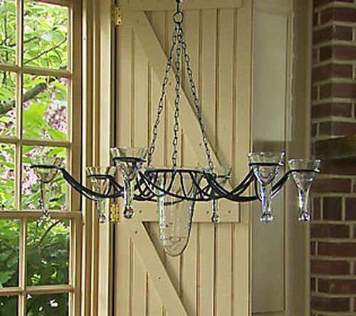 Wrought Iron Candle Chandelier with Glass from Valerie Parr Hill Collection