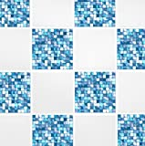 Pack of 10 Aqua Blue Mosaic 6'' x 6'' Tile Transfer Stickers Home Improvement Kitchen Bathroom