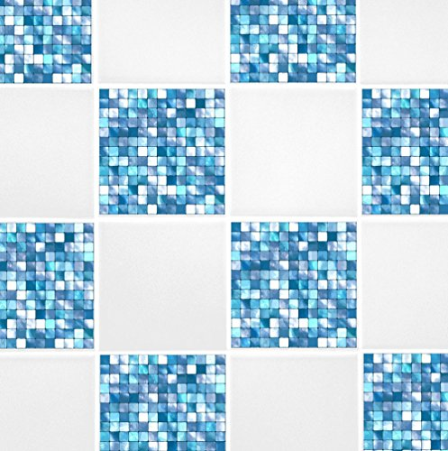 Pack of 10 Aqua Blue Mosaic 4'' x 4'' Tile Transfer Stickers Home Improvement Kitchen Bathroom by 60 Second Makeover Limited