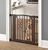 Noblesse Dog Gate - 32'' Tall - Expandable to 40 Inch - Black, Indoor Pet Barrier, Walk Through Swinging Door, Extra Wide. Pressure Mounted, Walls, Stairs, Small/Large Dogs, Metal, Best Dog Gate