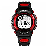 GeKLok Boys Digital Sport Watch, Kids Outdoor Waterproof Electronic Analogue Watches LED Alarm Stopwatch Back Light Timer Children's Gifts(S,Red)
