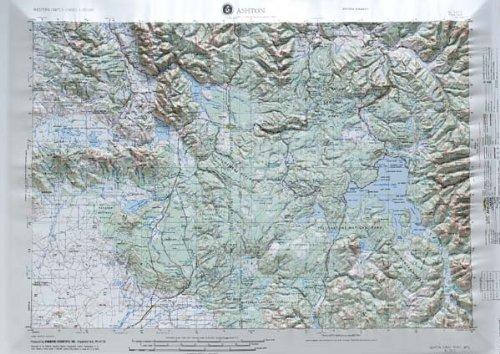 Raised Relief Map 21 - Ashton, Idaho; Wyoming; Montana (Western United States 1:250,000, V502P)