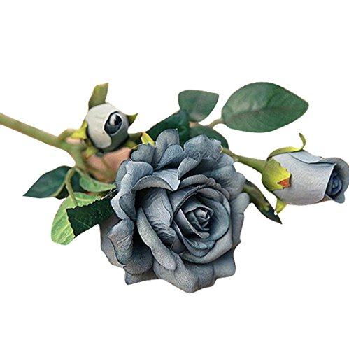 Dusty Blue Silk (Iuhan 5pcs Real Latex Touch Rose Flowers For wedding And Home Design Bouquet Decor)