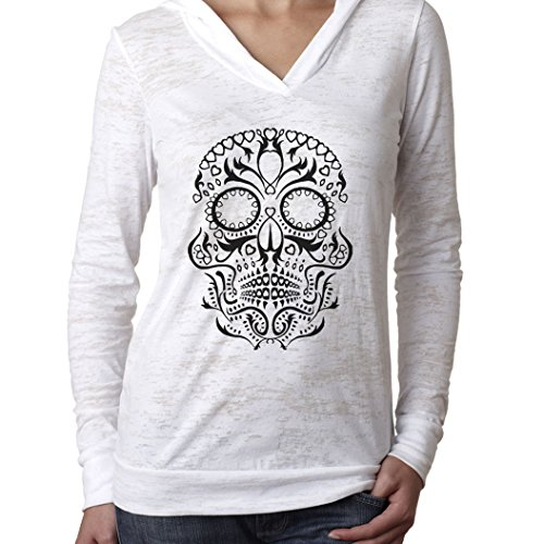 New Womens Frosty Tees Sugar Skull Queen Of Hearts Skull Burn Out Hoodie White S