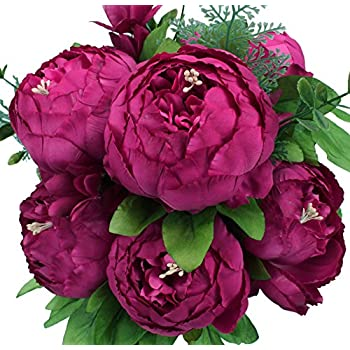 Duovlo Springs Flowers Artificial Silk Peony Bouquets Wedding Home Decoration,Pack of 1 (Spring Hot Pink) ...
