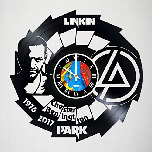 Bennington Clock (Linkin Park - Chester Bennington - Handmade Vinyl Wall Clock - Rock Band Clock - Get unique living room wall decor - Leave a feedback and win a clock!)