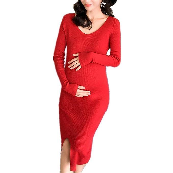 636585ee9 Vestido De Punto Mujer Primavera Otoño Embarazadas Vestidos Elegante  Casuales Mujeres Elástica Casual Vintage Vestido Premama Color Sólido Manga  Larga ...