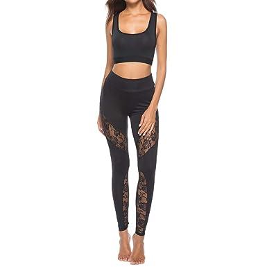 0439a784038 JERFER Jolis Pantalons de Mode Nouveau Pantalon décontracté en Dentelle  pour Femmes Pantalon de Yoga pour Le Sport  Amazon.fr  Vêtements et  accessoires