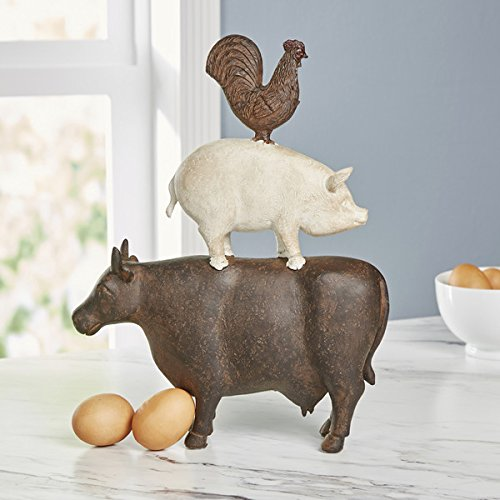 Traditional American Farmhouse Art Trio of Poly Stone Cow Pig Rooster Figurine