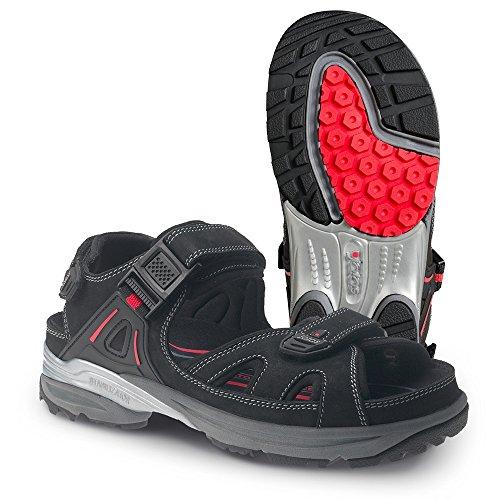 Jalas JALAS® Cool Sport - Sandalias de vestir de Piel Lisa para hombre negro/ rojo