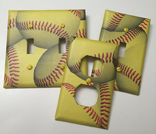 Softball sport,boys girls, teen room, playroom, light plate cover,light switch plate, outlet cover, outlet plate, home decor, wall - Fashion Stores Outlets