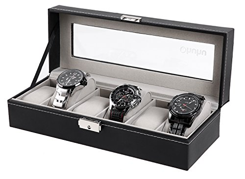 Ohuhu Watch Organizer, 6 Slot Watch Box PU Leather Watches Storage Case with Lock and Key, Birthday Xmas Presents