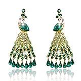 EVER FAITH Austrian Crystal Graceful Peacock Bird Chandelier Earrings