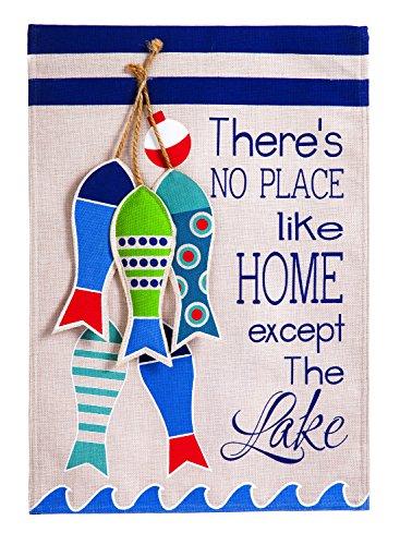 Evergreen No Place Like The Lake Burlap Garden Flag, 12.5 x 18 - Lakes Pembroke