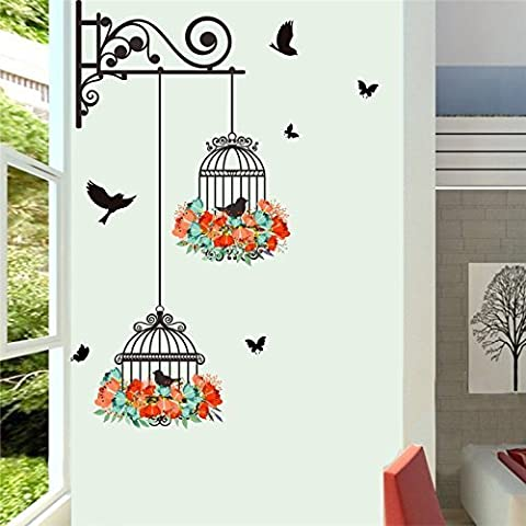 Copter shop Colorful Flower Birds Birdcage Wall Sticker Elegant Art PVC Wall Decal For Home Living Room 3D Garden Floral Wall (Raiders Guitar Picks)