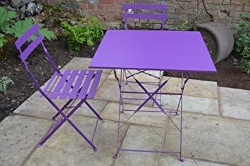 paris 2 seater metal garden bistro set purple 70cm square folding table and 2 folding chairs