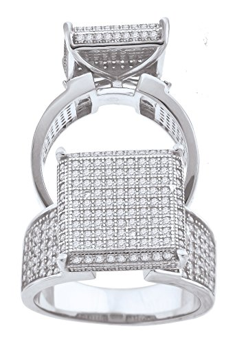 925 Sterling Silver Cubic Zirconia CZ Cluster Size-8 Womens Fashion Ring by Saris and Things