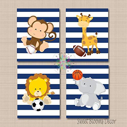Safari Nursery Wall Art,Safari Nursery Decor,Sports Animals Nursery Wall Art Soccer Baseball Football Basketball Nursery Décor Sports Nursery Navy Blue-UNFRAMED 4 (NOT CANVAS) ()