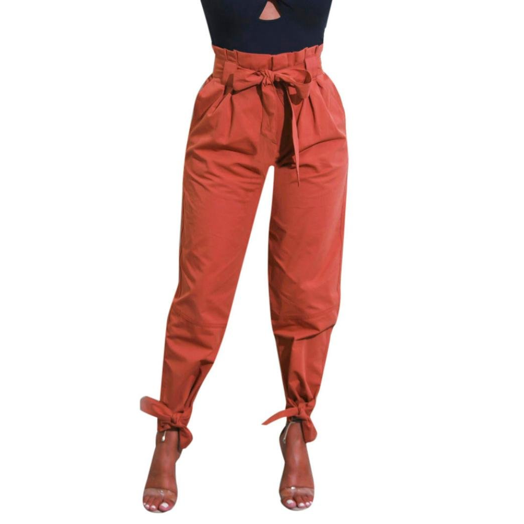 ed4e4b13c11b0 JESFFER Womens Pants Belted High Waist Trousers Ladies Party Casual ...