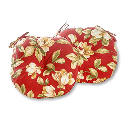 (Greendale Home Fashions Round Indoor/Outdoor Bistro Chair Cushion, Roma Floral, 15-Inch, Set of 2)