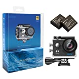 EKEN H9 4K Action Camera, Full HD Wifi Waterproof Sports Camera with 4K/ 2.7K/ 1080P60/ 720P120fps Video, 12MP Photo and 170 Wide-Angle Lens, includes 17 Mountings Kit, 2 Batteries (Black)