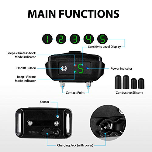 [Newest 2019]Dog Bark Collar-5 Adjustable Sensitivity and Intensity Levels-Dual Anti-Barking Modes-Rechargeable/Rainproof/Reflective -No Barking Control Dog shock Collar for Small Medium Large Dog by Petyeah (Image #2)
