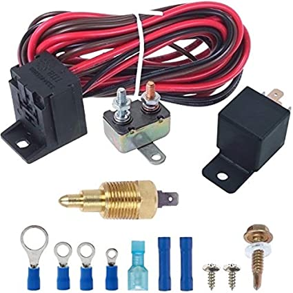 1//2 NPT, 190F On - 175F Off American Volt Electric Engine Fan Grounding Thread-in Thermostat Relay Controller Switch Kit