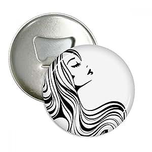Hermoso largo pelo rizado Lady silueta redondo abridor de botellas nevera Imán Pins Badge botón regalo 3pcs