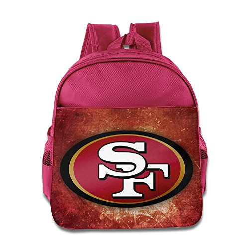 Price comparison product image BestGifts Custom Cool San Francisco Football Logo Children School Bag Backpack For 1-6 Years Old Pink