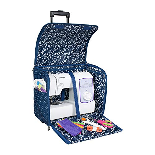 Everything Mary Blue Dot Collapsible Rolling Sewing Machine Tote - Sewing Machine Case Fits Most Standard Brother & Singer Sewing Machines, Sewing Bag with Wheels & Handle