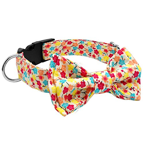 Large Floral Pattern (Didog Adjustable Adorable Floral Pattern Cotton Dog Collar with Bow Tie,Fit Malinois,Shepherd,Rottweiler,Boxer,Medium Large Dog)