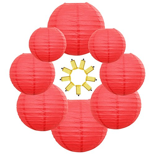 Neo LOONS Red Round Chinese/Japanese Paper Lanterns Metal Framed Hanging Lanterns-- Assorted Sizes--Birthday/Wedding/Christmas/Ceiling Party Supplies Favors Hanging -