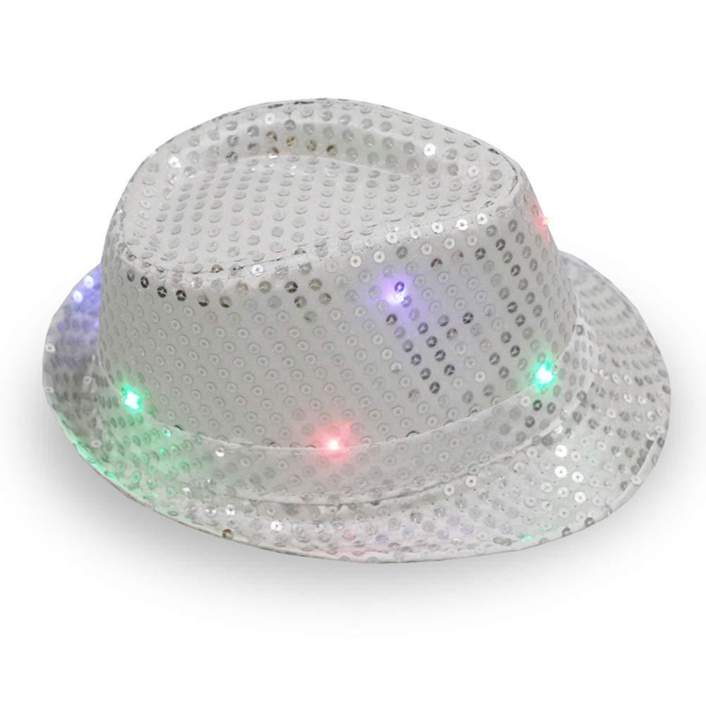 Party 58cm Adjustable Glod Kindernacht Damen Herren Jazzm/ütze mit LED-Pailletten f/ür Weihnachten