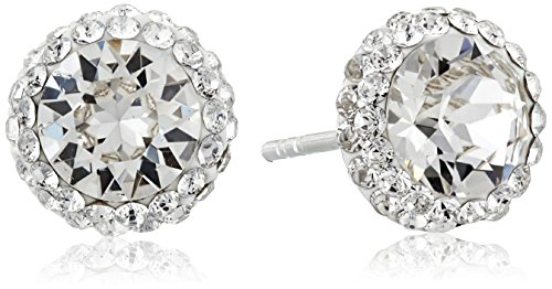 Sterling Silver Swarovski Crystal Halo Clear Stud Earrings