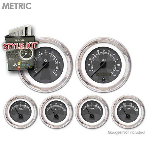 Black Modern Needles, Chrome Trim Rings Aurora Instruments 5268 Iron Cross Gray Metric Style Kit