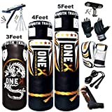 NEW 3-4-5 FT Filled Heavy Punch Bag Buyer Build Set,Chains,Bracket, Punching Gloves for Training Fitness Water proof Bag MMA (4ft with Bracket+Mitts)