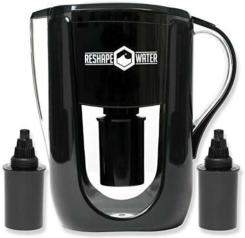 Reshape Water Pitcher With 2 Long-Lasting Filters-Ranked a 2019 Best Water Filter Pitcher by Family Living Today-Increases Ph, Removes Chlorine and Heavy Metals-Improves Taste-3.5 Liter Capacity (Best Water Filter Pitcher For Fluoride)
