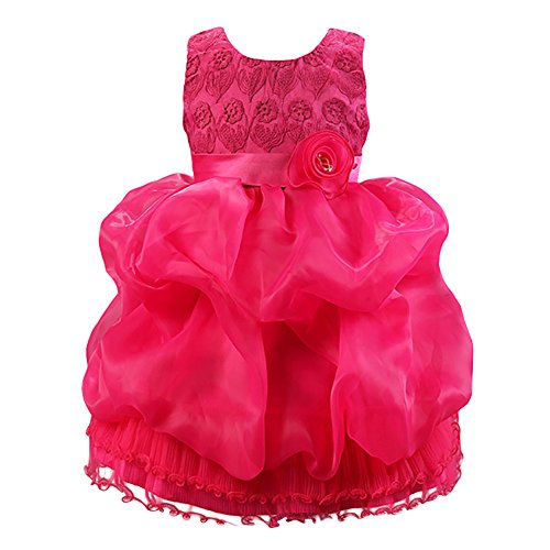 FREE FISHER Kids Girls Organza Embroidered Dress for Sepcial Occasion Fuchsia 130