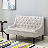 Merax Contemporary Fabric Tufted Loveseat Sofa 2 Seater (Beige)