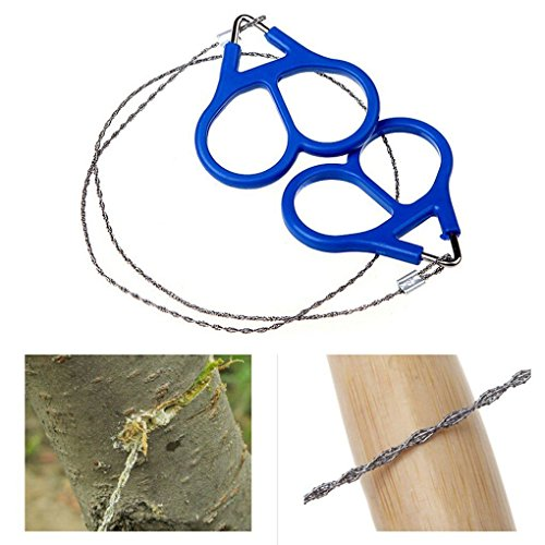 Stainless Steel Chain Saw Bushcraft Hunting Camping EDC Emergency Outdoor Survival Tool Blue Handle Portable