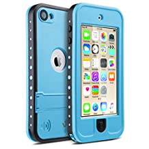 iPod 5 iPod 6 Waterproof Case,ULAK Waterproof iPod Touch Case For Boys Girls Built-in Touch Screen for Dustproof Sweatproof with Kickstand (Blue)