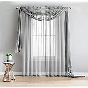 """2-Piece Rod Pocket Sheer Panel Curtains Fabric Sheer - Voile Curtains for Window Treatment - Natural Light Flow (56""""W x 96""""L - Each Panel, Silver)"""