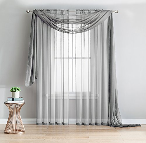 2-Piece Rod Pocket Sheer Panel Curtains Fabric Sheer – Voile Curtains for Window Treatment – Natural Light Flow (56″W x 96″L – Each Panel, Silver)